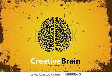 Brain logo design. Creative brain. Grunge style brain