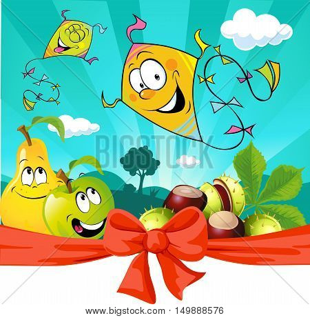 Autumn kite flying in nature apple and pear look - vector illustration