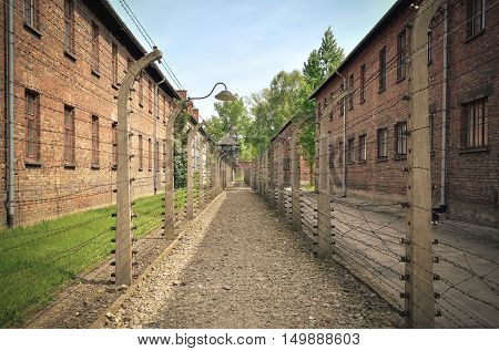 OSWIECIM POLAND - MAY 12 2016: Masonry blocks and fences with barbed wire in concentration camp Auschwitz-Birkenau in Oswiecim Poland.