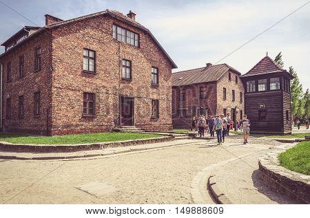 OSWIECIM POLAND - MAY 12 2016: Masonry blocks in concentration camp Auschwitz-Birkenau in Oswiecim Poland.