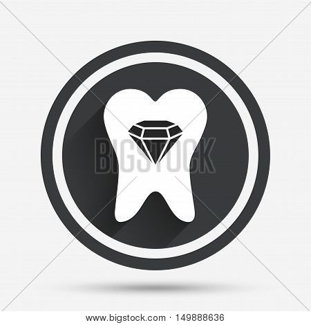 Tooth crystal icon. Tooth jewellery sign. Dental prestige symbol. Circle flat button with shadow and border. Vector