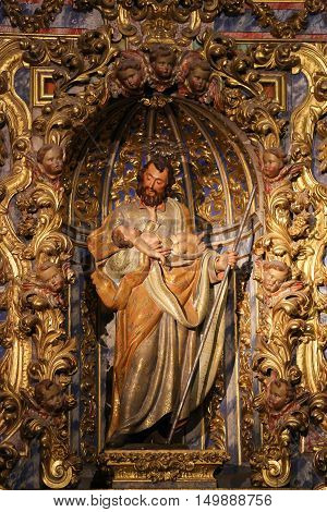 Statue Of Saint Joseph In The New Cathedral Of Salamanca