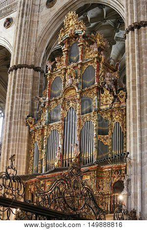 Organ In The New Cathedral Of Salamanca