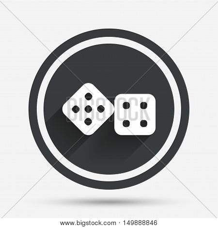 Dices sign icon. Casino game symbol. Circle flat button with shadow and border. Vector