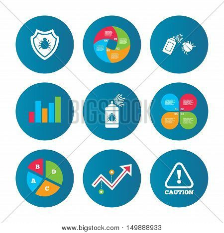 Business pie chart. Growth curve. Presentation buttons. Bug disinfection icons. Caution attention and shield symbols. Insect fumigation spray sign. Data analysis. Vector