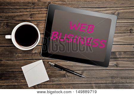 The words Web Business on digital tablet pc