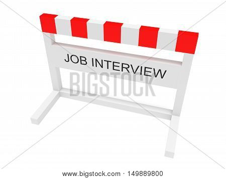 Hurdle Job Interview 3d illustration on a white background