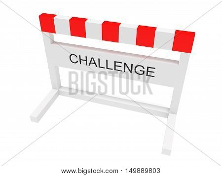 Hurdle Challenge 3d illustration on a white background