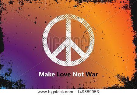 Make Love Not War - Hippie style. PEACE logo. Color hippie