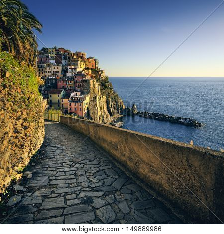 Manarola village stone trekking trail. Cinque Terre National Park Liguria Italy Europe. Long Exposure