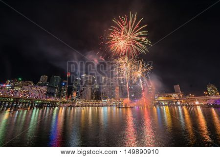 Fireworks celebration  in the Darling Harbour Sydney Australia.Oct 03,2016 See fabulous fireworks light up the Sydney night sky at Darling Harbour every Saturday.