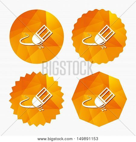 Eraser icon. Erase pencil line symbol. Correct or Edit drawing sign. Triangular low poly buttons with flat icon. Vector