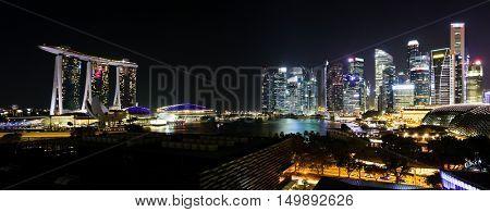 SINGAPORE, 2 April 2016 - Singapore;s famous Marina Bay Sands and city skyline at night
