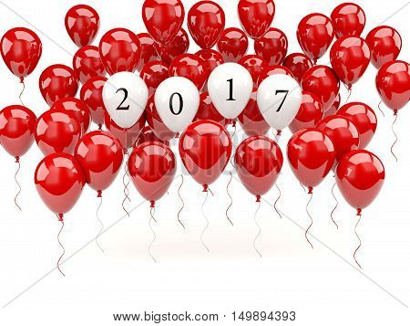 Red Balloons With 2017 New Year Sign