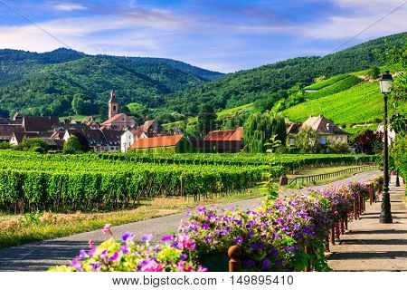 Picturesque countryside of Alsace region- famous