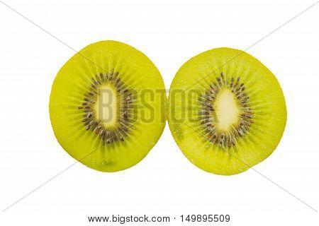 Kiwi slices into half isolated on white background