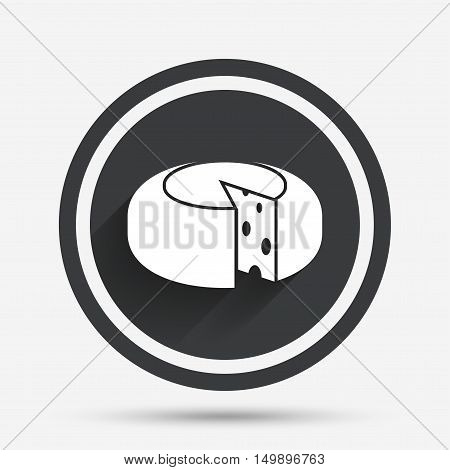 Cheese wheel sign icon. Sliced cheese symbol. Round cheese with holes. Circle flat button with shadow and border. Vector