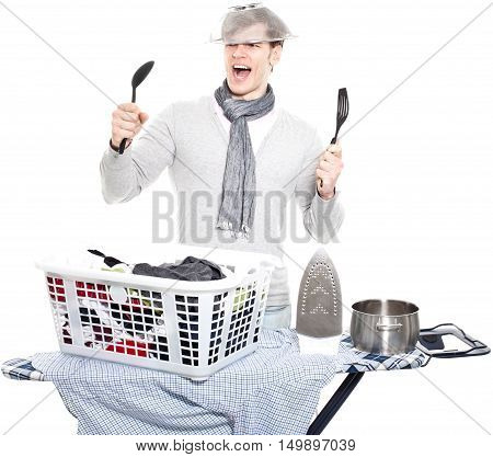young man completely overwhelmed with household - isolated on white background