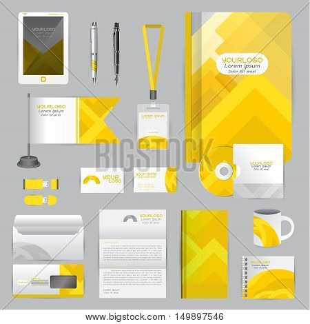 White identity template with Yellow origami elements. Vector company style for brandbook guideline and Pens mugs CDs books business cards letterhead flag Card Portfolio employees Tablet