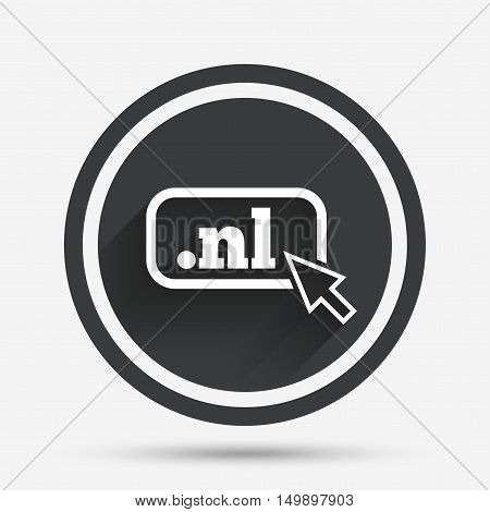 Domain NL sign icon. Top-level internet domain symbol with cursor pointer. Circle flat button with shadow and border. Vector