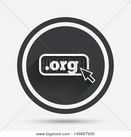 Domain ORG sign icon. Top-level internet domain symbol with cursor pointer. Circle flat button with shadow and border. Vector
