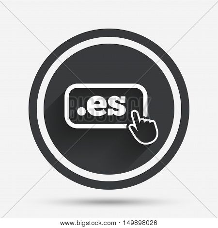 Domain ES sign icon. Top-level internet domain symbol with hand pointer. Circle flat button with shadow and border. Vector