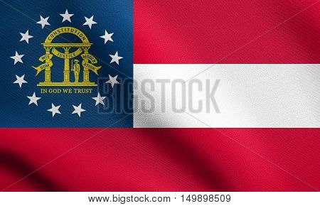 Georgian official flag symbol. American patriotic element. USA banner. United States of America background. Flag of the US state of Georgia waving in the wind with detailed fabric texture, illustration