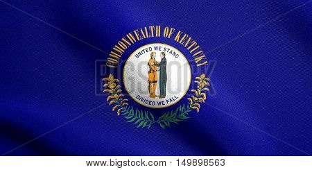 Kentuckian official flag symbol. American patriotic element. USA banner. United States of America background. Flag of the US state of Kentucky waving in the wind with detailed fabric texture, illustration