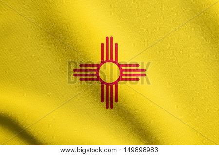 New Mexican official flag symbol. American patriotic element. USA banner. United States of America background. Flag of the US state of New Mexico waving in the wind with detailed fabric texture, illustration