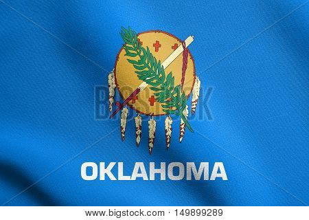 Oklahoman official flag symbol. American patriotic element. USA banner. United States of America background. Flag of the US state of Oklahoma waving in the wind with detailed fabric texture, illustration