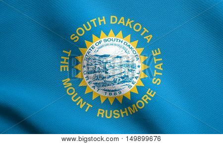 South Dakotan official flag symbol. American patriotic element. USA banner. United States of America background. Flag of the US state of South Dakota waving in the wind with detailed fabric texture, illustration