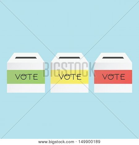 Voting Concept By Three Color Ballot Box.