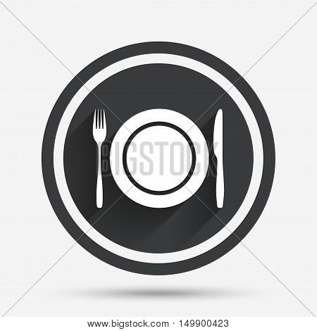 Plate dish with fork and knife. Eat sign icon. Cutlery etiquette rules symbol. Circle flat button with shadow and border. Vector