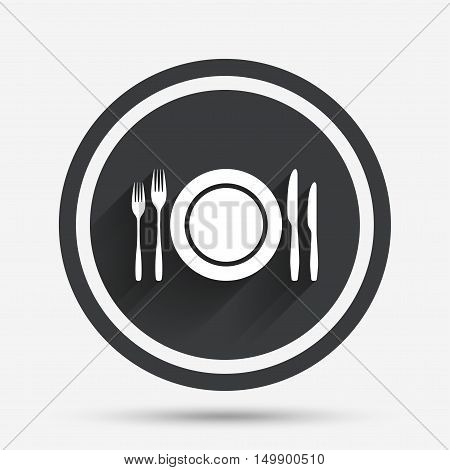 Plate dish with forks and knifes. Eat sign icon. Cutlery etiquette rules symbol. Circle flat button with shadow and border. Vector