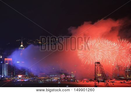 Fireworks Over Bay At Hong Kong