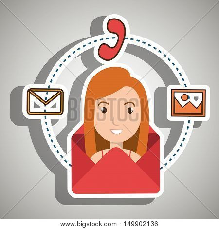 man cartoon email telephone vector illustration eps 10