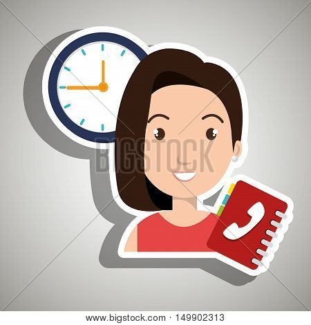 woman directory telephone clock vector illustration eps 10