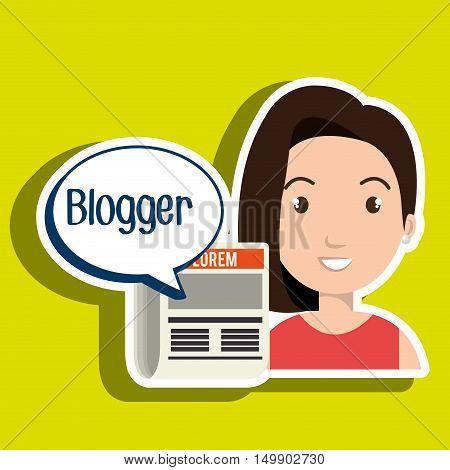 woman cartoon blogger web vector illustration eps 10