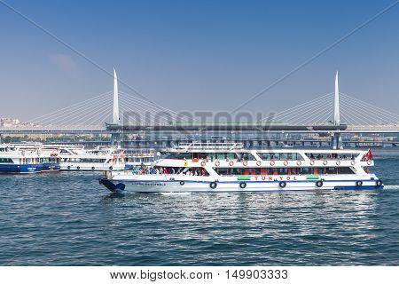 Passenger Ferry Goes On Golden Horn, Istanbul
