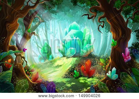 The Legend of Diamond and Crystal Forest. Video Game's Digital CG Artwork, Concept Illustration, Realistic Cartoon Style Background