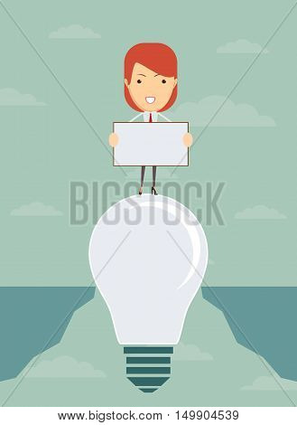 idea to save from falling into the abyss.People with a banner. Stock vector illustration