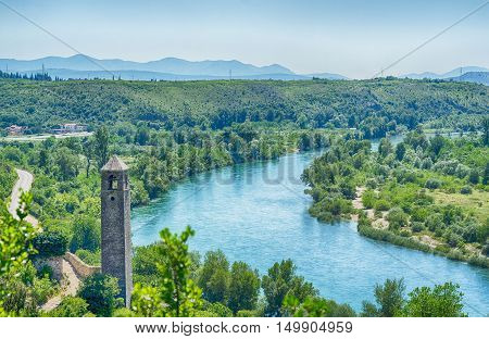 View on Neretva river in Pocitelj Bosnia and Herzegovina. poster
