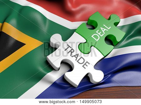 South Africa trade deals and international commerce concept, 3D rendering