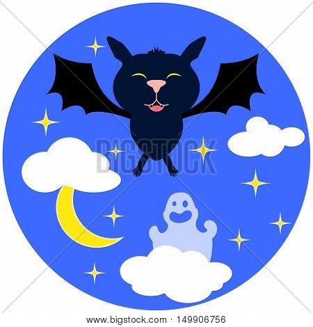 Halloween vector illustration with bat. Cute cartoon bat flying in night sky with stars clouds and ghost. Round image for seasonal autumn festival. Hand-drawn Halloween picture for card or banner