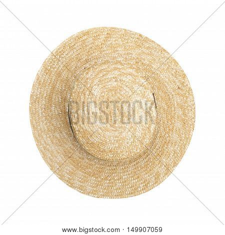 beautiful straw hat isolated on white background