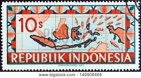 INDONESIA - CIRCA 1949: A stamp printed in Indonesia shows map of Indonesia with ships representing blockade runners streaming toward the Republic of Indonesia, circa 1949.