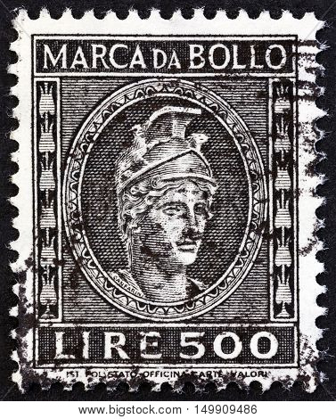 ITALY - CIRCA 1959: A revenue stamp printed in Italy shows sculpture, circa 1959.