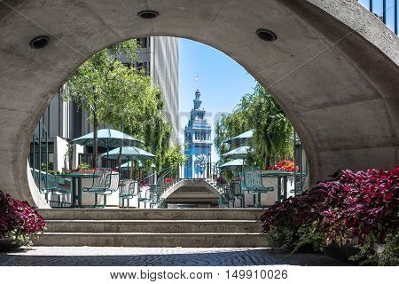 San Francisco,California,USA - August 7, 2016 : The Clock Tower of the Embarcadero view through the bridge