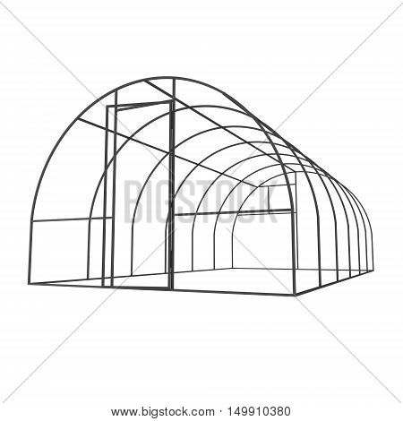 Greenhouse construction frame. Hothouse building object. Warm house 3d render illustration isolated on white. Glasshouse concept image