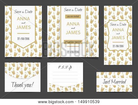 Beautiful wedding set of printed materials with a abstract design. Wedding invitation card, save the date cards, R.S.V.P. and thank you card